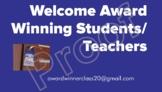 Award Winning Banner- Welcome to An Award Winning Classroom-Teachers, Students,