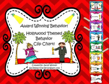 Award Winning Behavior! Hollywood Clip Chart, Editable Behavior Log, and Letter!