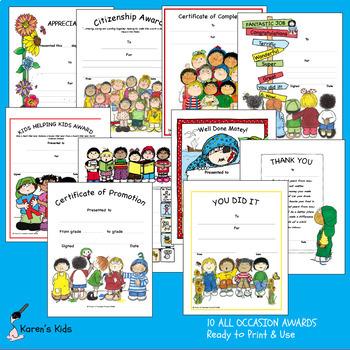 Printable Awards ALL OCCASION (Karen's Kids Printables)