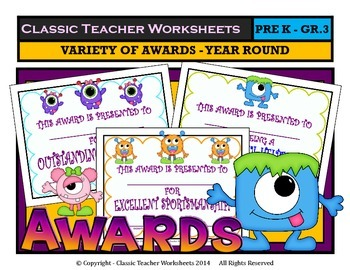 Awards - Awards Day - Variety of Awards - Year Round - Preschool to Grade 3