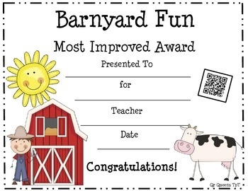 50 Awards (Barnyard Theme) with a QR Code