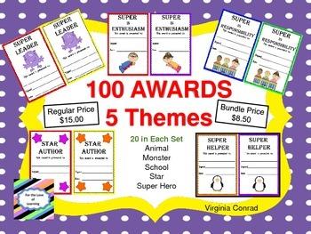 Awards Bundle---5 Sets of Awards--20 In Each Set