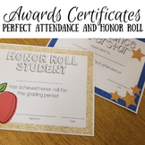 Attendance and Honor Roll Awards (editable)