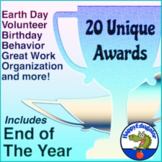 End of the Year Award Certificates Twenty Editable Awards with Earth Day
