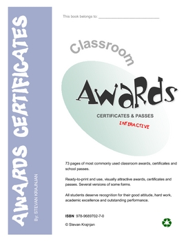 Awards, Certificates and Passes for students - printable, Interactive Version