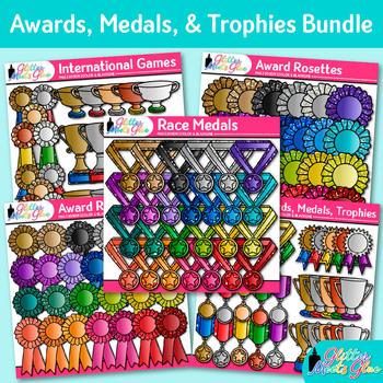 Awards Clip Art Bundle   Ribbons, Trophy, Badges, Medals for Award Certificates