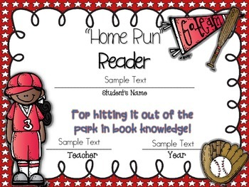 Awards ~ {EDITABLE} End of the Year Home Run Certificates