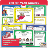 Awards END OF YEAR AWARDS Editable Comments (Karen's Kids Printables)