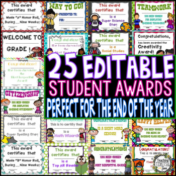 Editable Awards and Certificates, Awards, Student Awards, Class Awards