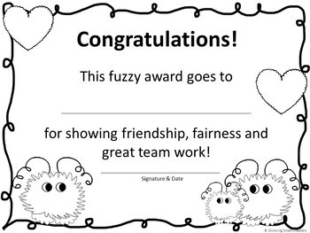 Fuzzy Friends Awards for Friendship, Cooperation, Kindness