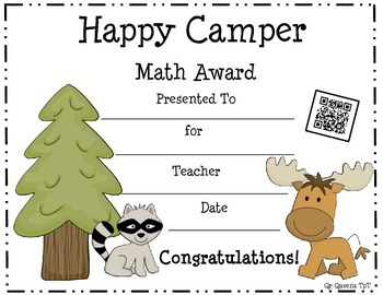 Awards (Happy Camper Theme) with a QR Code