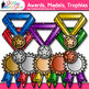 Classroom Award Clip Art {Medals & Trophies for International Games, Field Day}