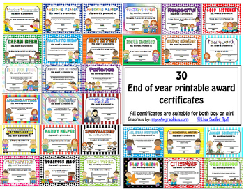 Awards - Printable Certificates for End of Year Recognitio
