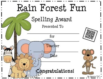 Awards (Rain Forest Theme) with a QR Code