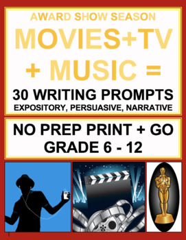 Movie and Music Writing Prompts: Award Show ELA: Oscars, Grammys, Emmys