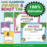Awards and Boast Tags in Hawaiian Luau Theme - 100% Editable