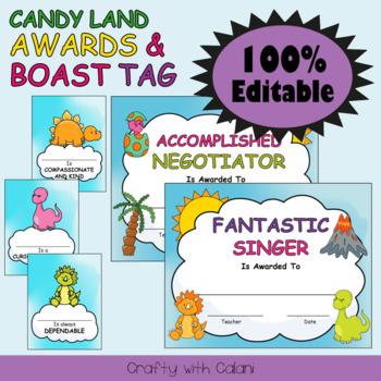 Awards and Brag Tags in Cute Dinosaurs Theme - 100% Editable