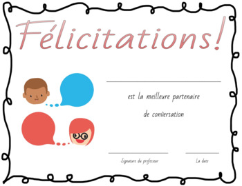 Awards and Certificates in French