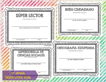Awards and Certificates in Spanish