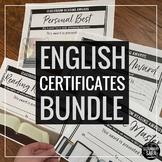 Awards for English Class BUNDLE: Certificates for Secondary ELA (Editable)