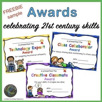 Throughout the Year Awards Freebie:  Celebrating 21st Century Skills!