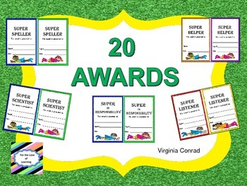 Awards with a Super Hero Theme--Use Anytime--End of Year, Monthly, Weekly