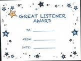 Awards/Certificates for Good Class Room Behavior
