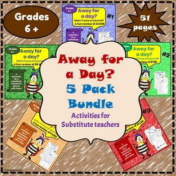Away for a Day?  5 PACK BUNDLE - French substitute activities