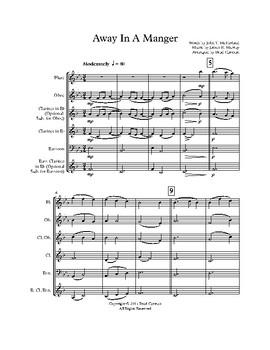 Away in a Manger for Intermediate Woodwind Quartet