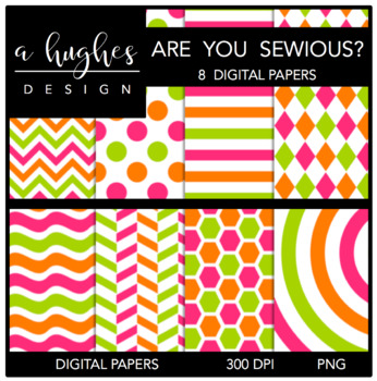 12x12 Digital Paper Set: Are You Sewious? {A Hughes Design}
