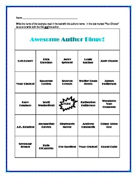 Awesome Author Bingo for Upper Elementary and Middle Schoo