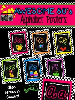 Awesome 80s Classroom Alphabet in Print and Cursive!