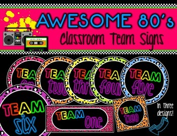 Awesome 80s Classroom Team Signs!