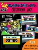 Awesome 80s Editable Classroom Jobs!