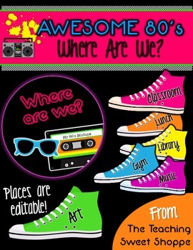 Awesome 80s Where Are We?  Classroom Signs