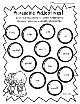 Awesome Adjectives!  Color Worksheet
