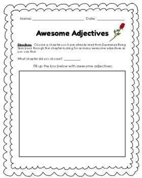 Awesome Adjectives **FREEBIE** (Esperanza Rising)