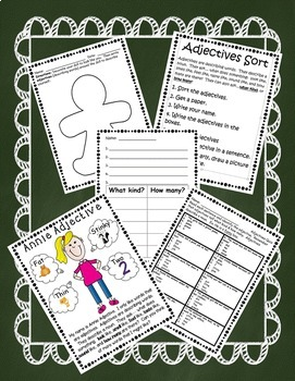 Awesome Adjectives - Word Cards w/ Pictures, Centers, and Assessment Included