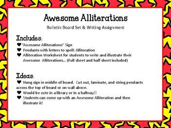 Awesome Alliterations Bulletin Board Set. English Language Arts. Poem Sounds