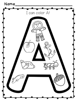 """Alphabet Activities:  """"I Can Color!"""" Letters & Beginning Sounds"""