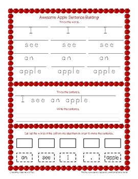 Awesome Apple Sight Words and Sentence Building!