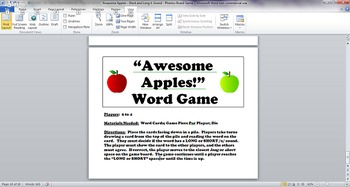 Awesome Apples - Long and Short A Sound - Phonics Board Game