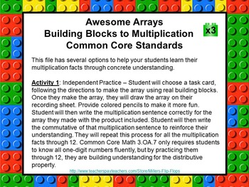 Awesome Arrays - Building Blocks to Multiplication x3