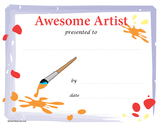 Awesome Artist Certificate, Pack of 25