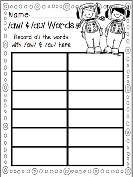 Awesome Astronauts: Literacy Activities for /aw/ and /au/