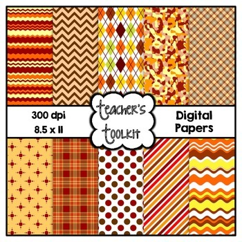 Awesome Autumn Digital Background Papers {8.5 x 11} Clip Art CU OK