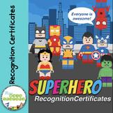 Awesome Building Blocks Superheroes Award Certifictes