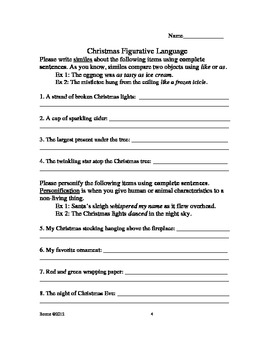 Awesome Christmas Figurative Language & Grammar Activities (*NO PREP)