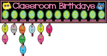 Back to School Owl Classroom Birthday Chart