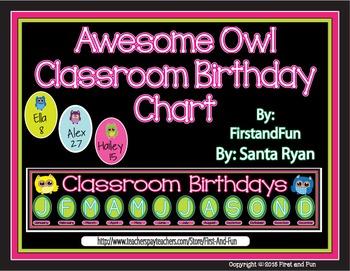 Back to School Owl Classroom Birthday Chart